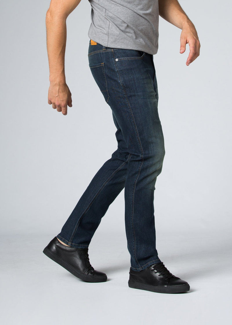 medium wash relaxed fit stretch jeans side
