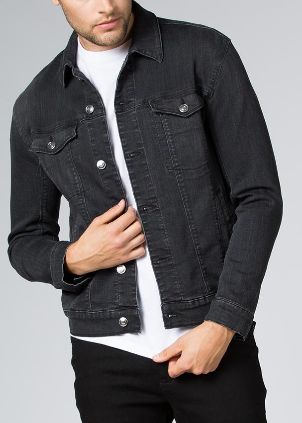 man wearing stretch denim jacket