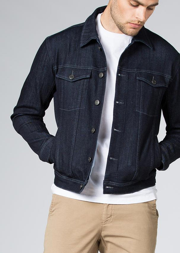 indigo stretch denim jacket front