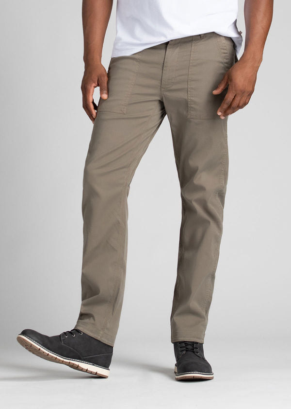 Man wearing light grey straight fit water resistant pants front