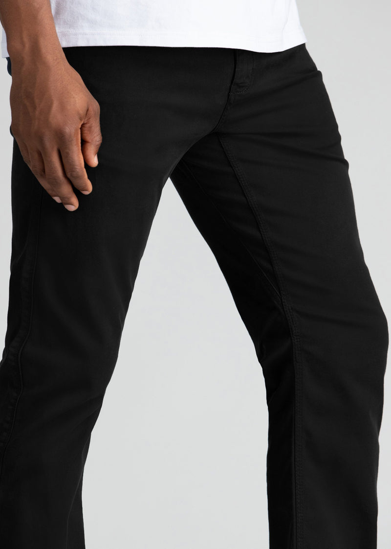Mens Black Straight Fit Lightweight Pant gusset