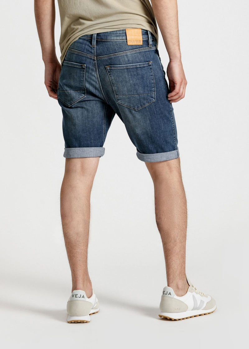 Light wash slim fit performance denim short back