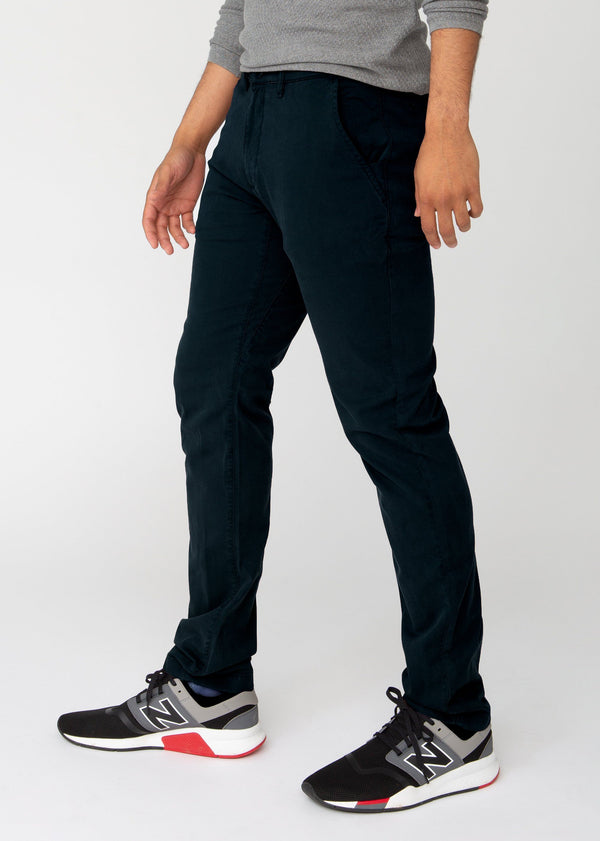 Mens dark blue slim fit summer chinos side