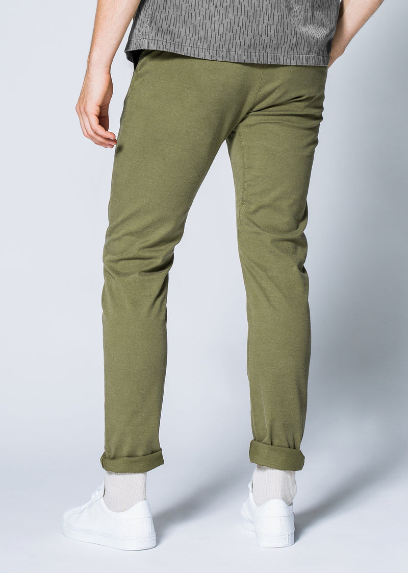 Mens green slim fit summer chinos back