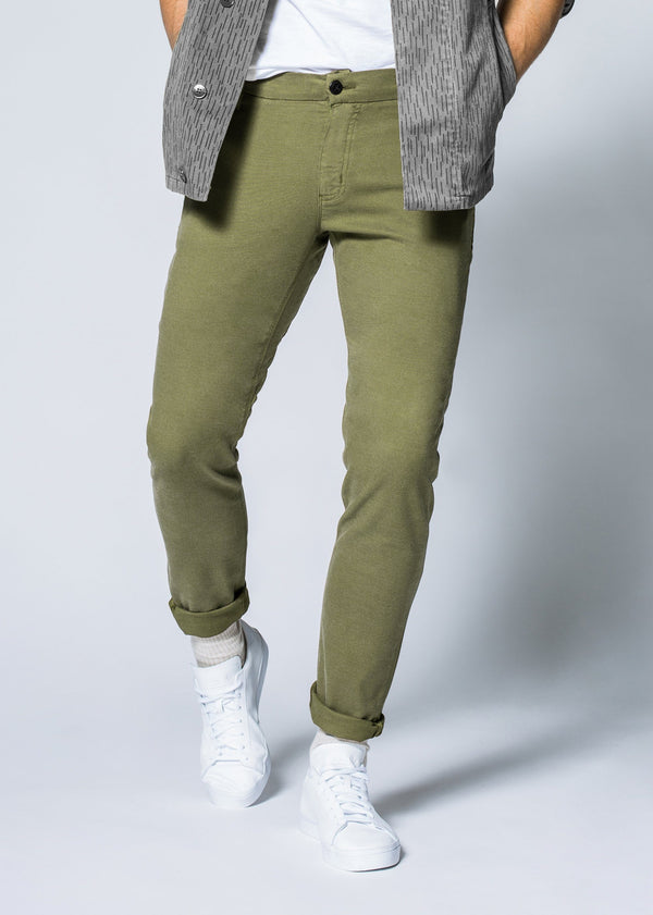 Mens green slim fit summer chinos front