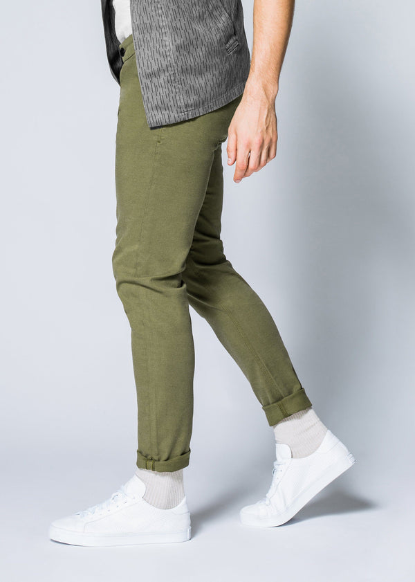 Mens green slim fit summer chinos side