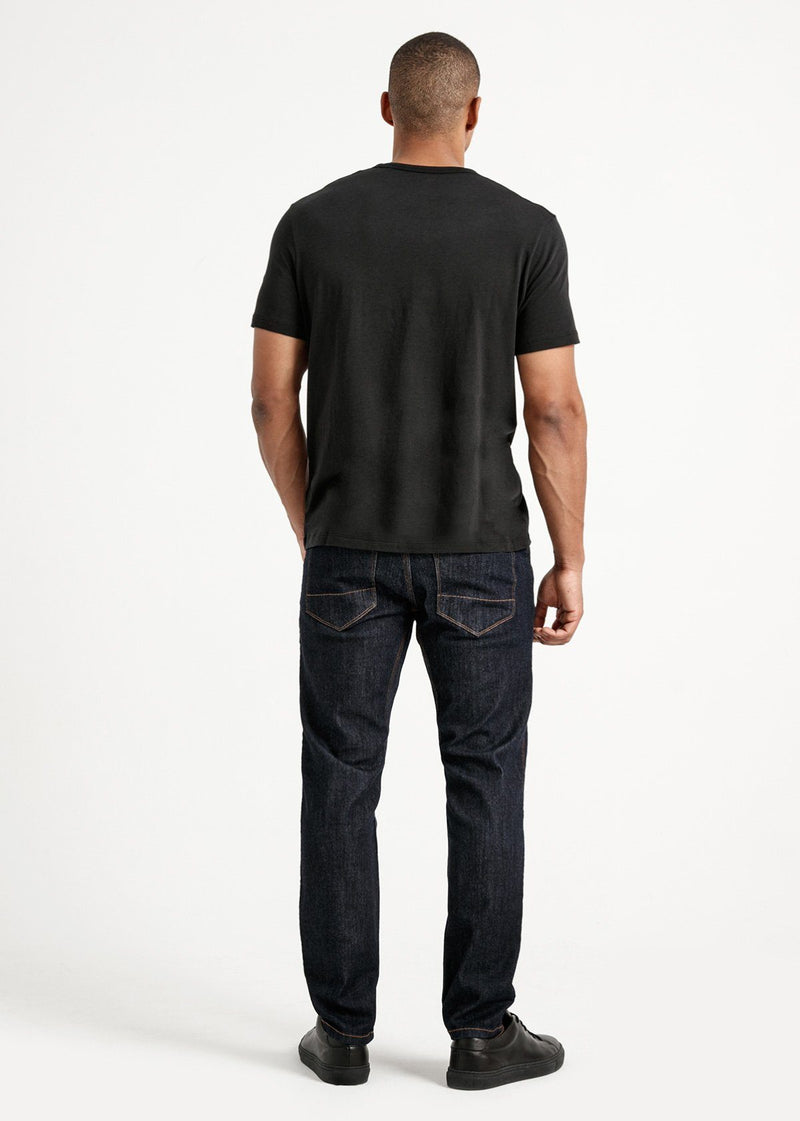 Mens soft lightweight black t-shirt full body back