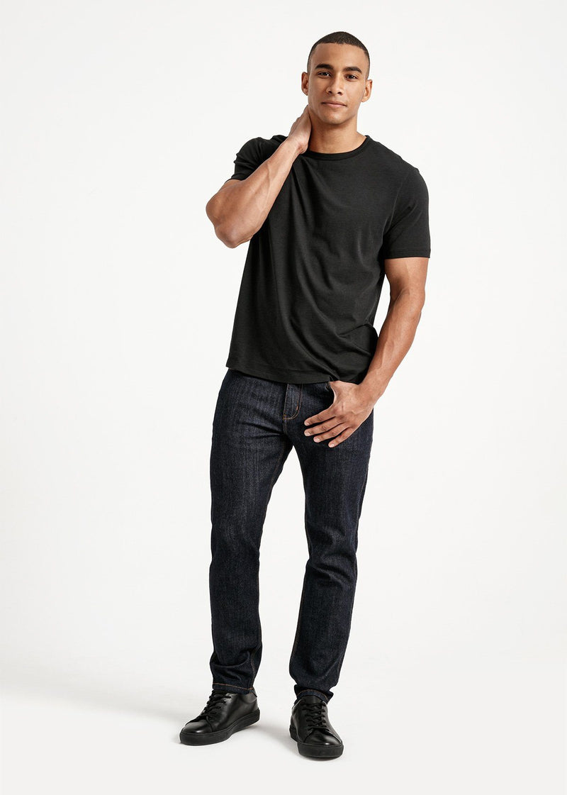 Mens soft lightweight black t-shirt full body front
