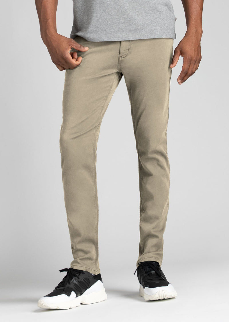 Mens Beige Slim Fit Dress Sweatpant Front