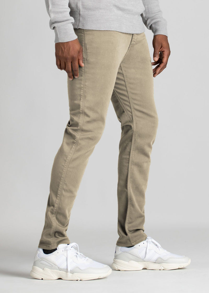 Mens Beige Slim Fit Dress Sweatpant Side