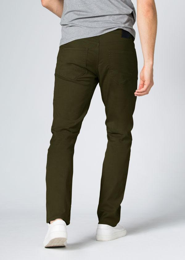 Mens Dark Green Straight Fit Lightweight Pant Back