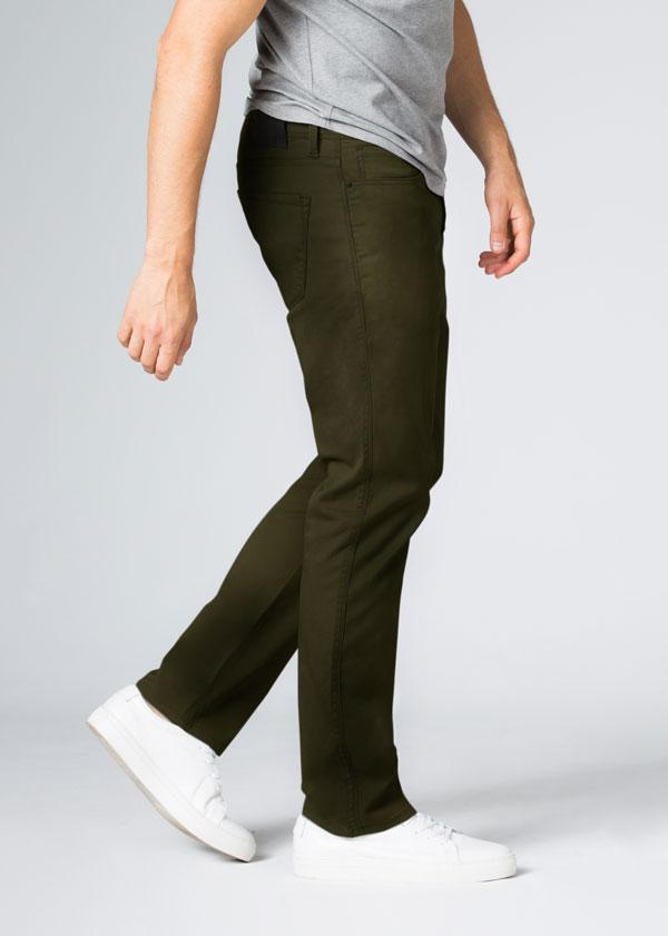 Mens Dark Green Straight Fit Lightweight Pant Side