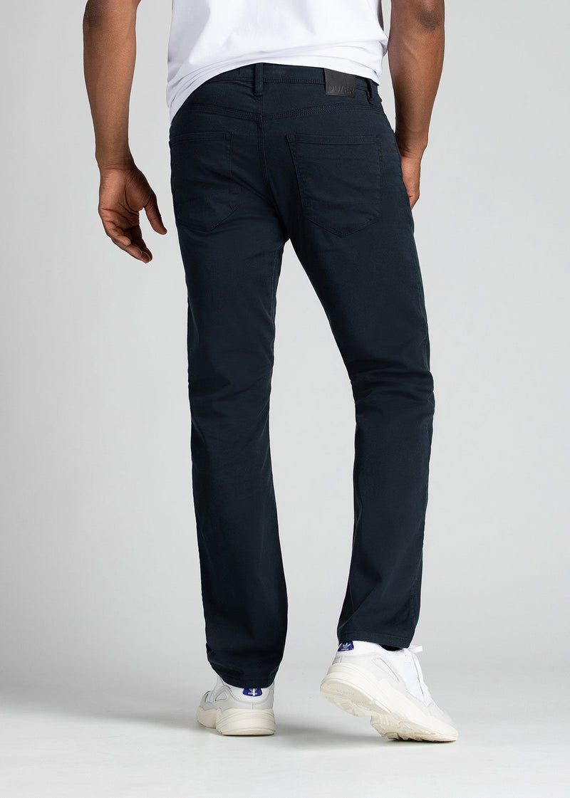 Mens Navy Blue Straight Fit Lightweight Pant Back
