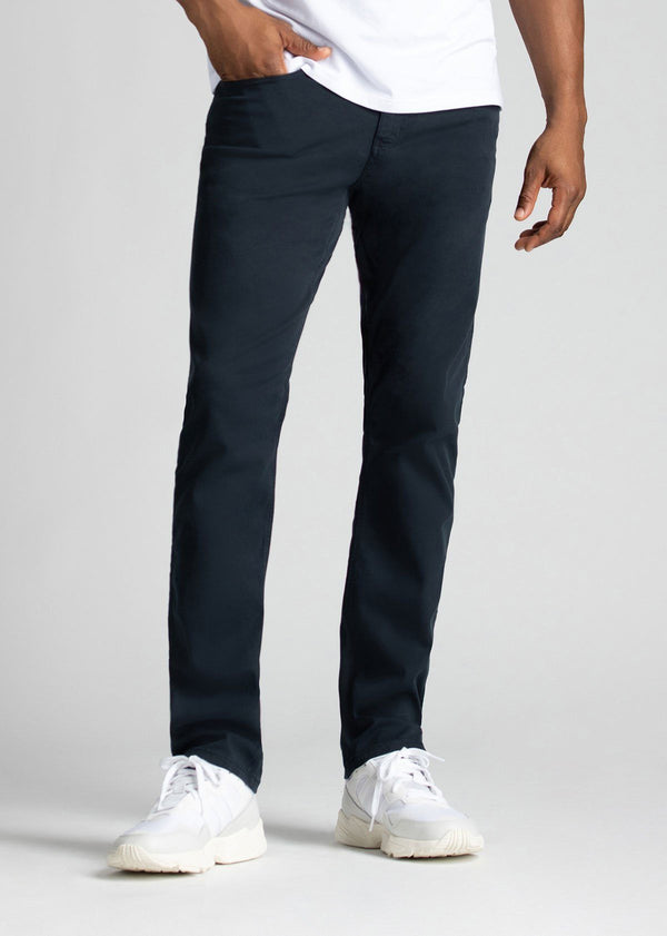 Mens Navy Blue Straight Fit Lightweight Pant Front