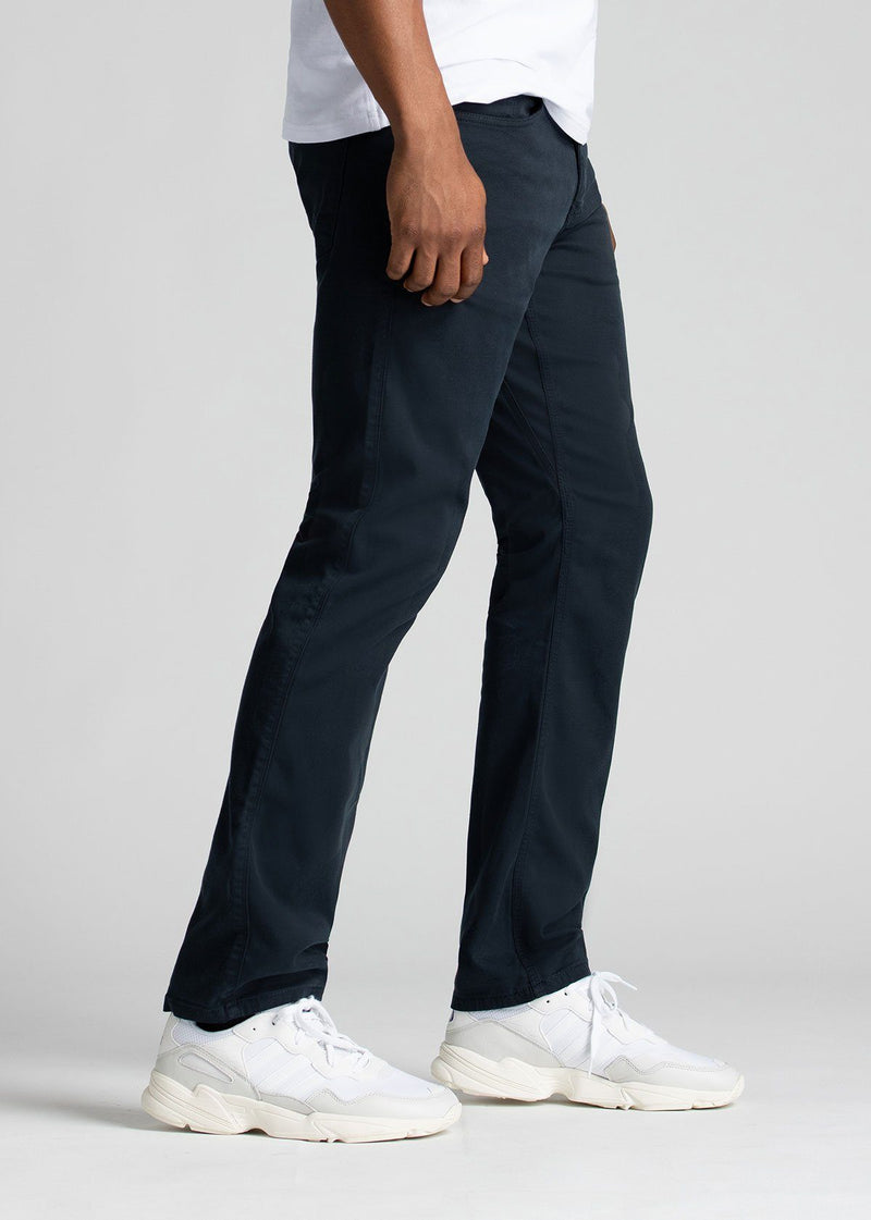 Mens Navy Blue Straight Fit Lightweight Pant Side