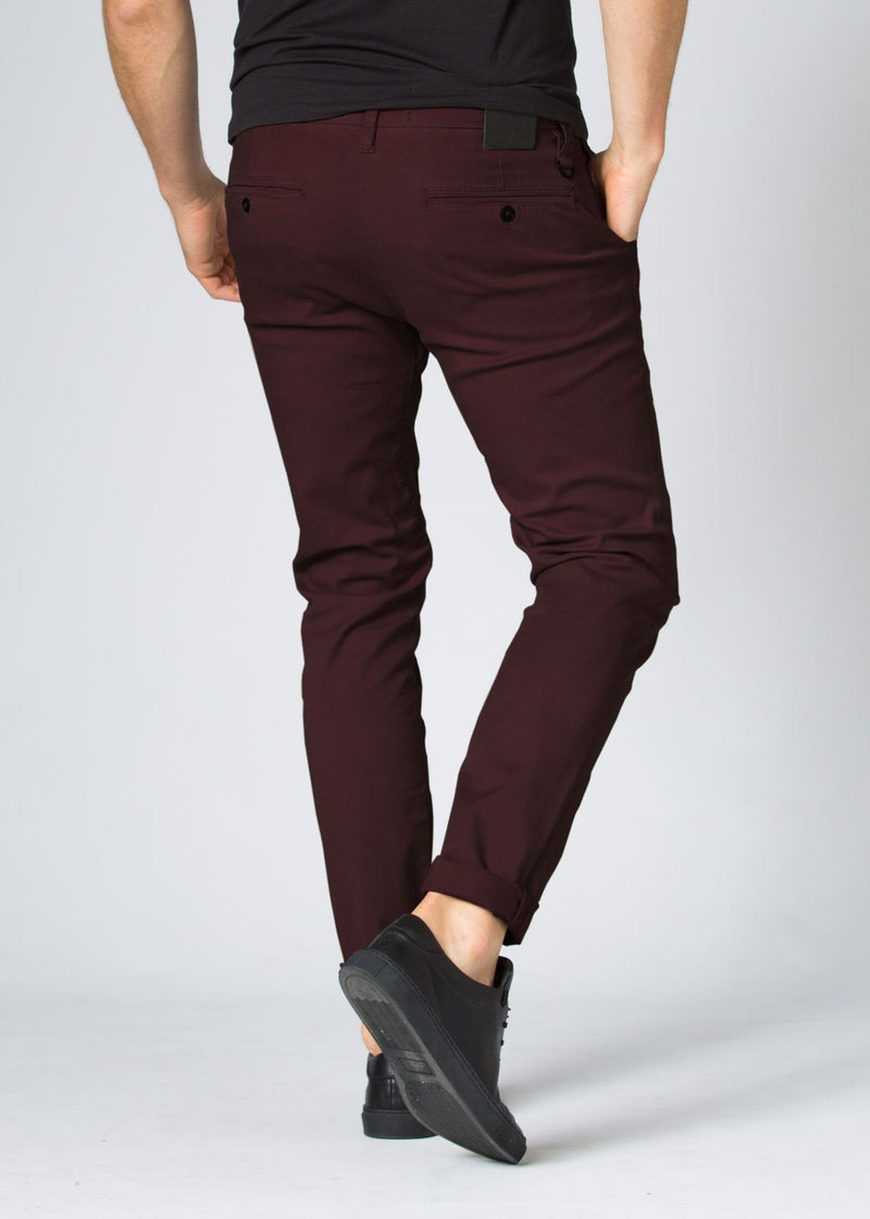 Mens maroon slim fit summer chinos back