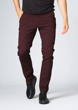 Mens maroon slim fit summer chinos front