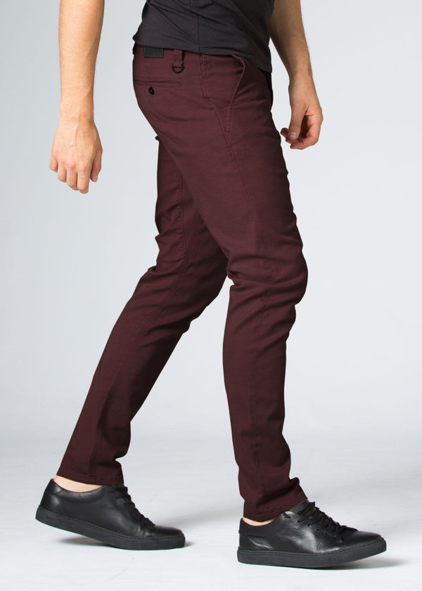 Mens maroon slim fit summer chinos side