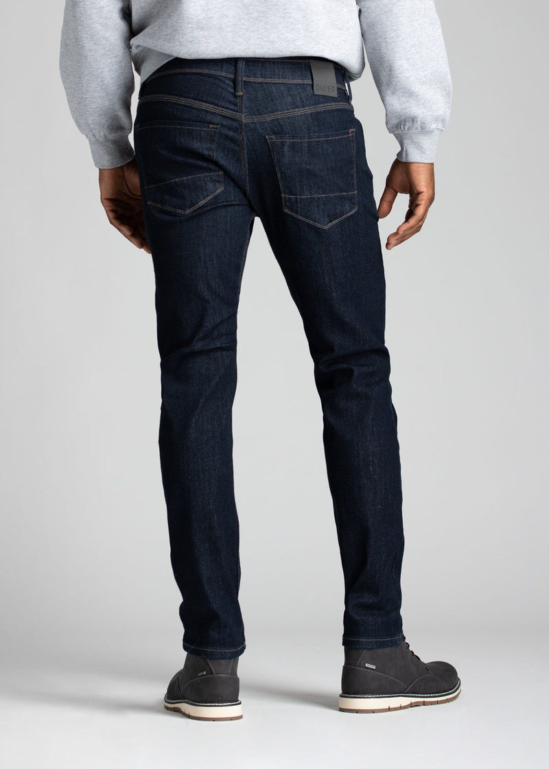 Mens slim fit blue water resistant stretch jeans back
