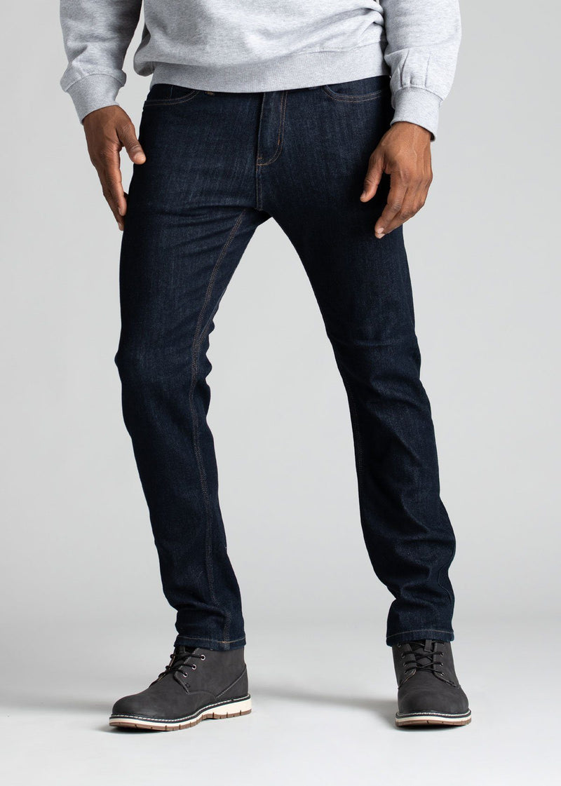 Mens slim fit blue water resistant stretch jeans front