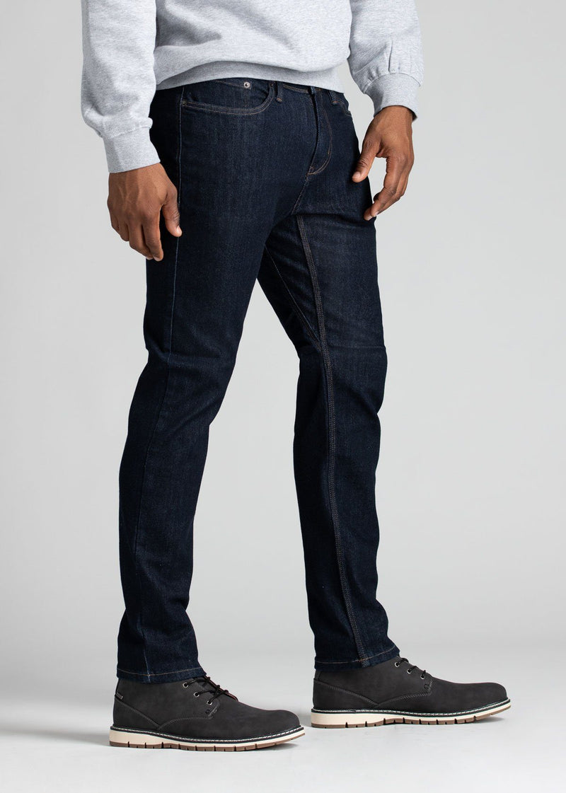 Mens slim fit blue water resistant stretch jeans side