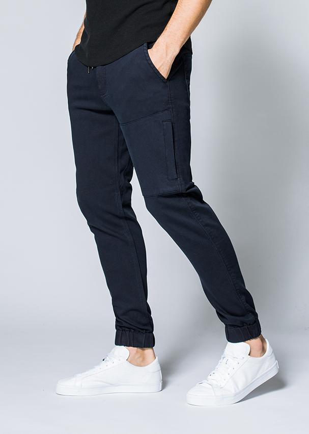 mens navy blue athletic jogger side