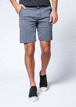 grey straight fit performance short front
