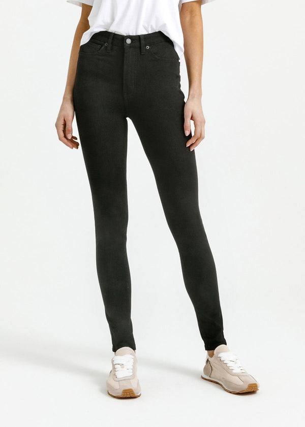 women's black skinny fit mid rise stretch jeans front