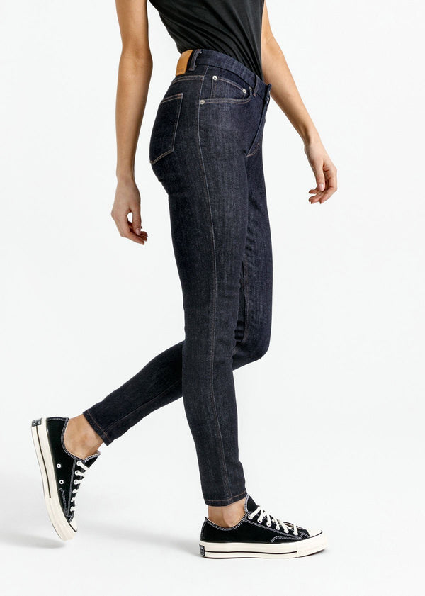 women's dark blue skinny fit mid rise stretch jeans side
