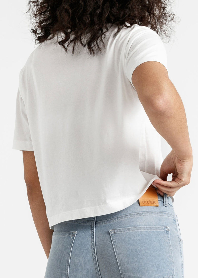 Women's white lightweight soft crop tshirt back