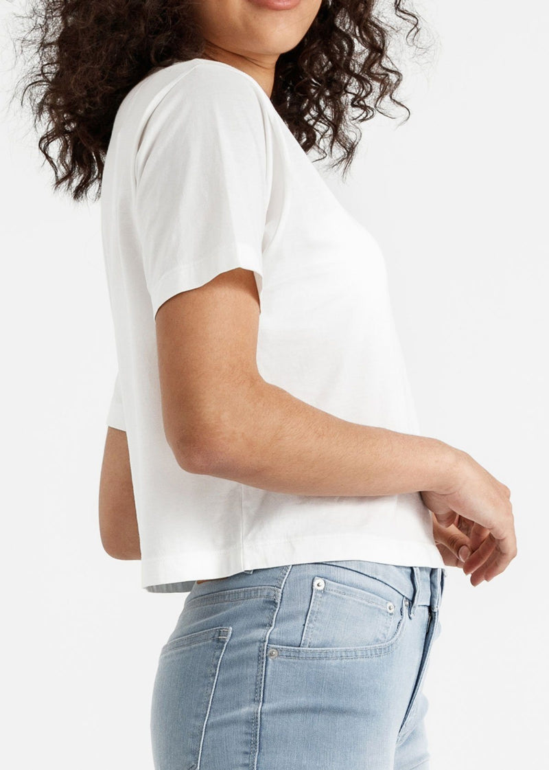 Women's white lightweight soft crop tshirt side