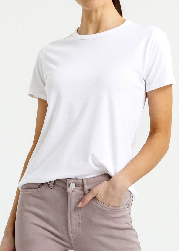 Women's white lightweight soft crew tshirt front