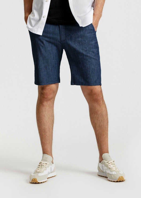 mens denim blue lightweight shorts front
