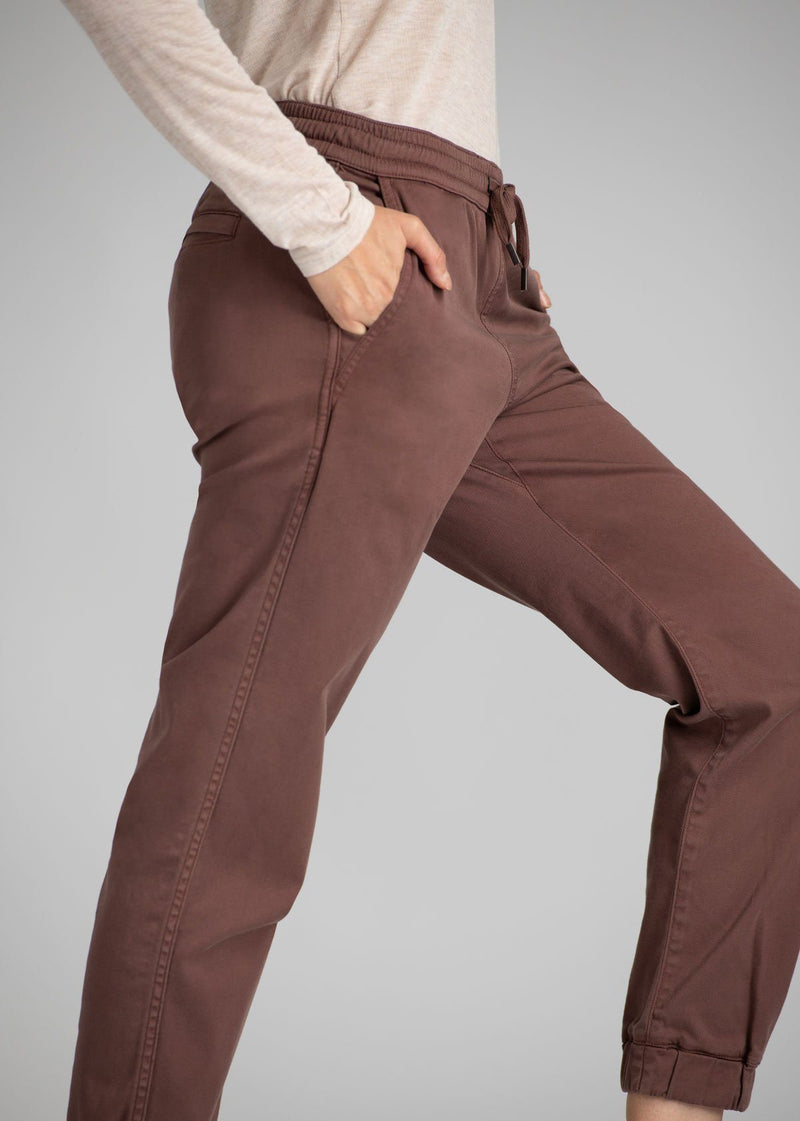 Woman wearing brown Athletic Jogger side detail