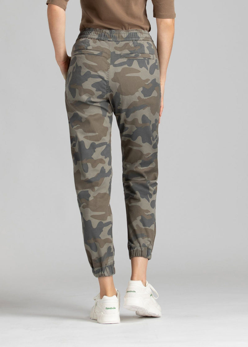Woman wearing camo coloured Athletic Jogger back