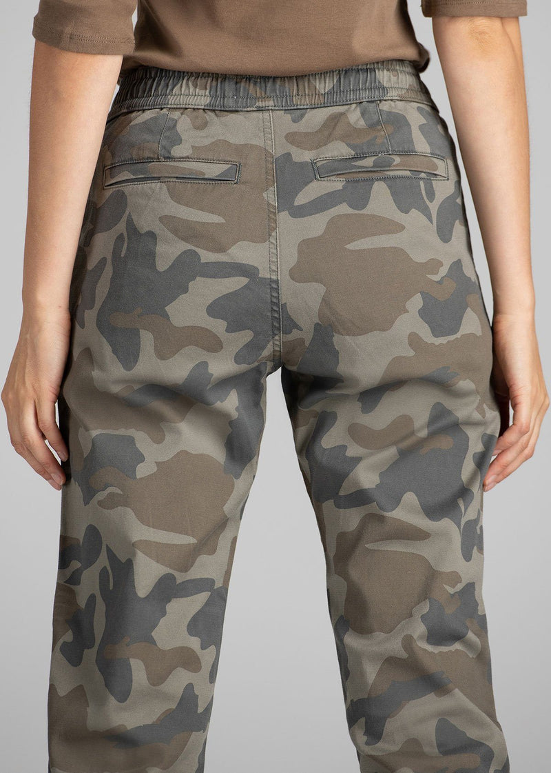 Woman wearing camo coloured Athletic Jogger back detail
