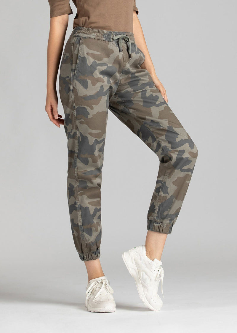 Woman wearing camo coloured Athletic Jogger front