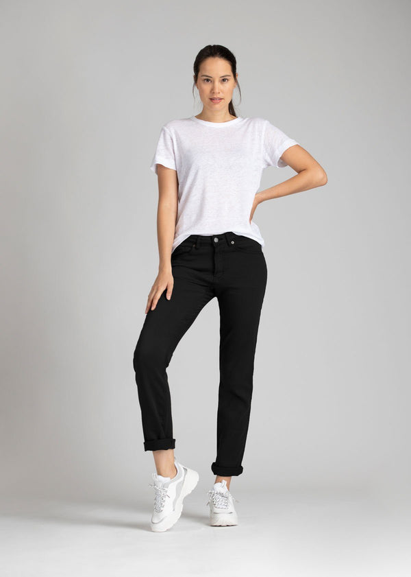 Womens black slim straight fit dress sweatpant full body