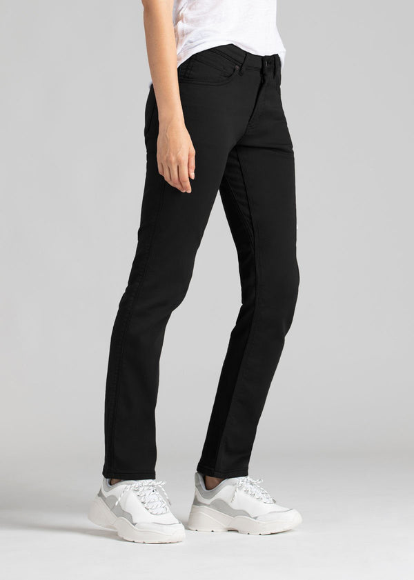 Womens black slim straight fit dress sweatpant side