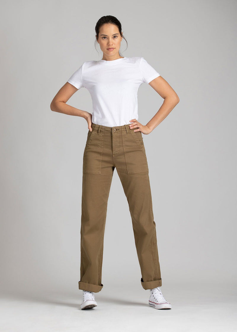 Womens lightweight utility pant brown full body