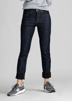 dark blue womens slim straight waterproof and windproof stretch jeans front