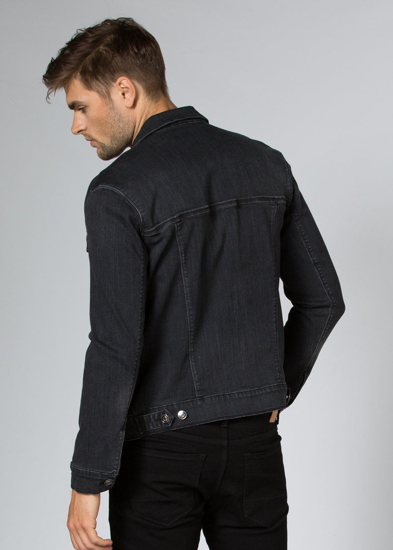dark wash stretch denim jacket back