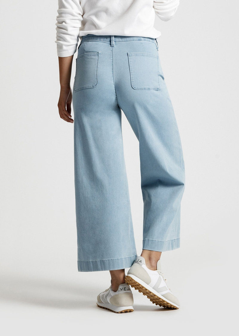 women's light blue wash high rise wide leg cropped lightweight jeans back