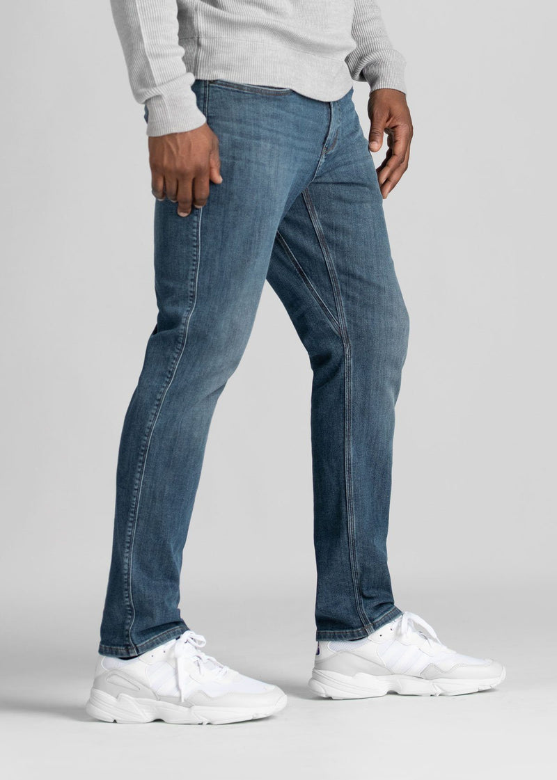light wash relaxed fit warm stretch jeans side