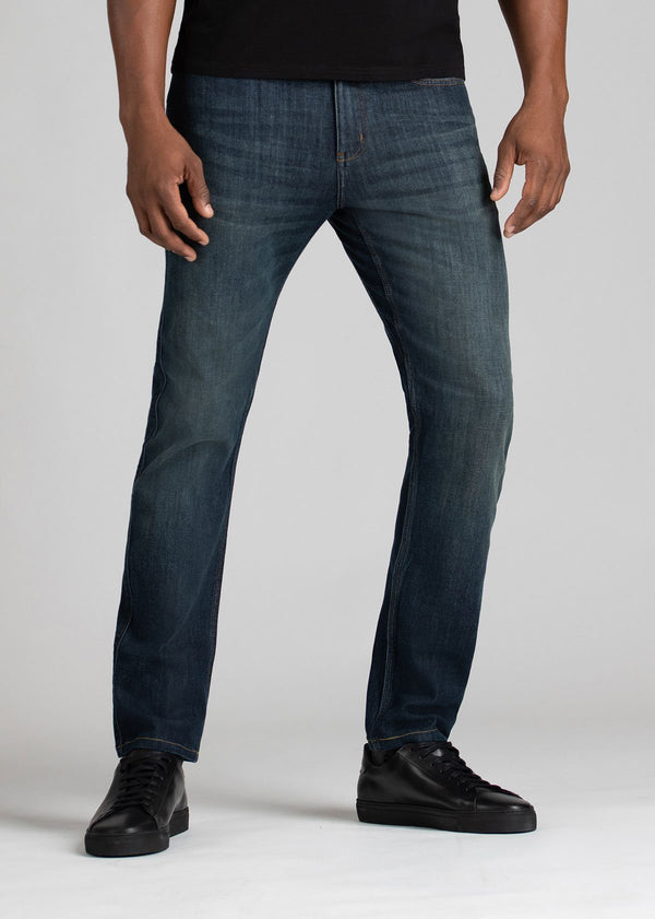 medium wash slim fit stretch jeans front