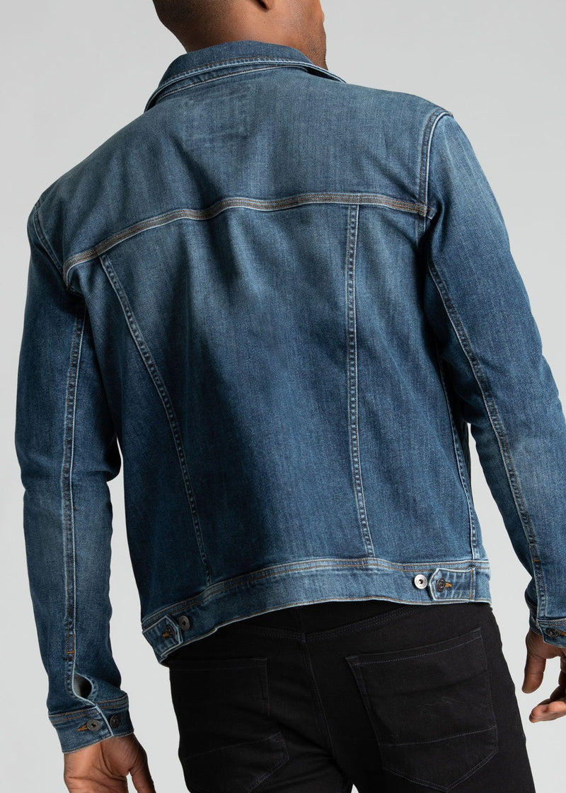 mens blue stretch denim jacket back