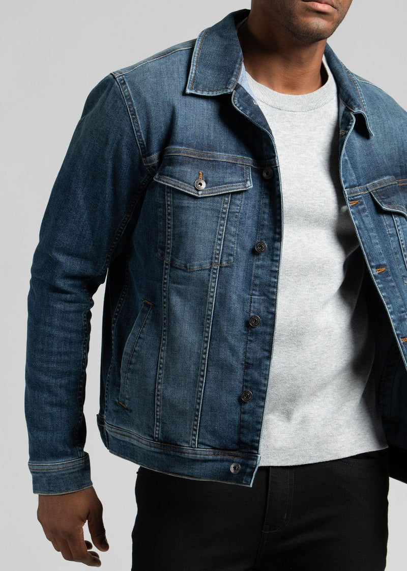 mens blue stretch denim jacket front