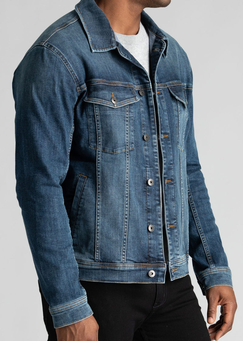 mens blue stretch denim jacket side