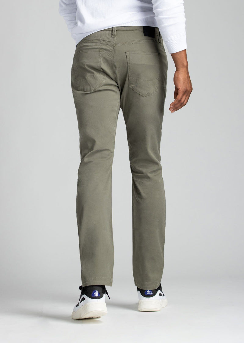 mens pale green lightweight relaxed pants back