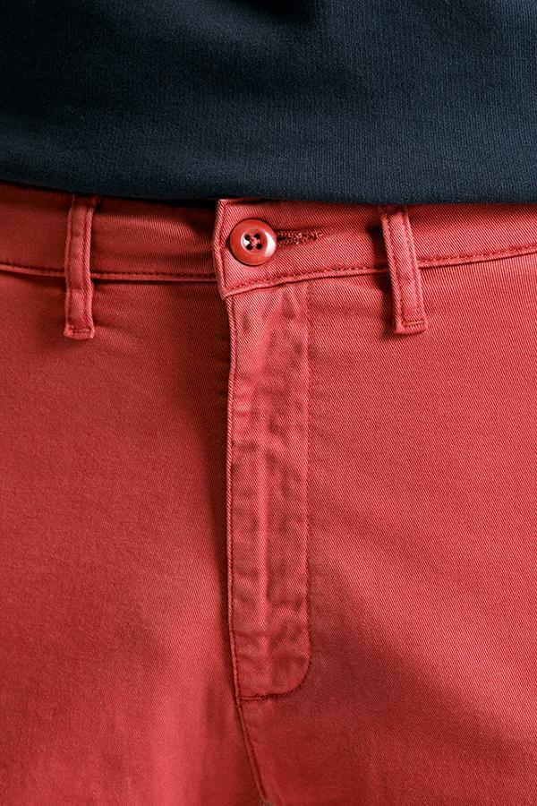mens red lightweight shorts front button